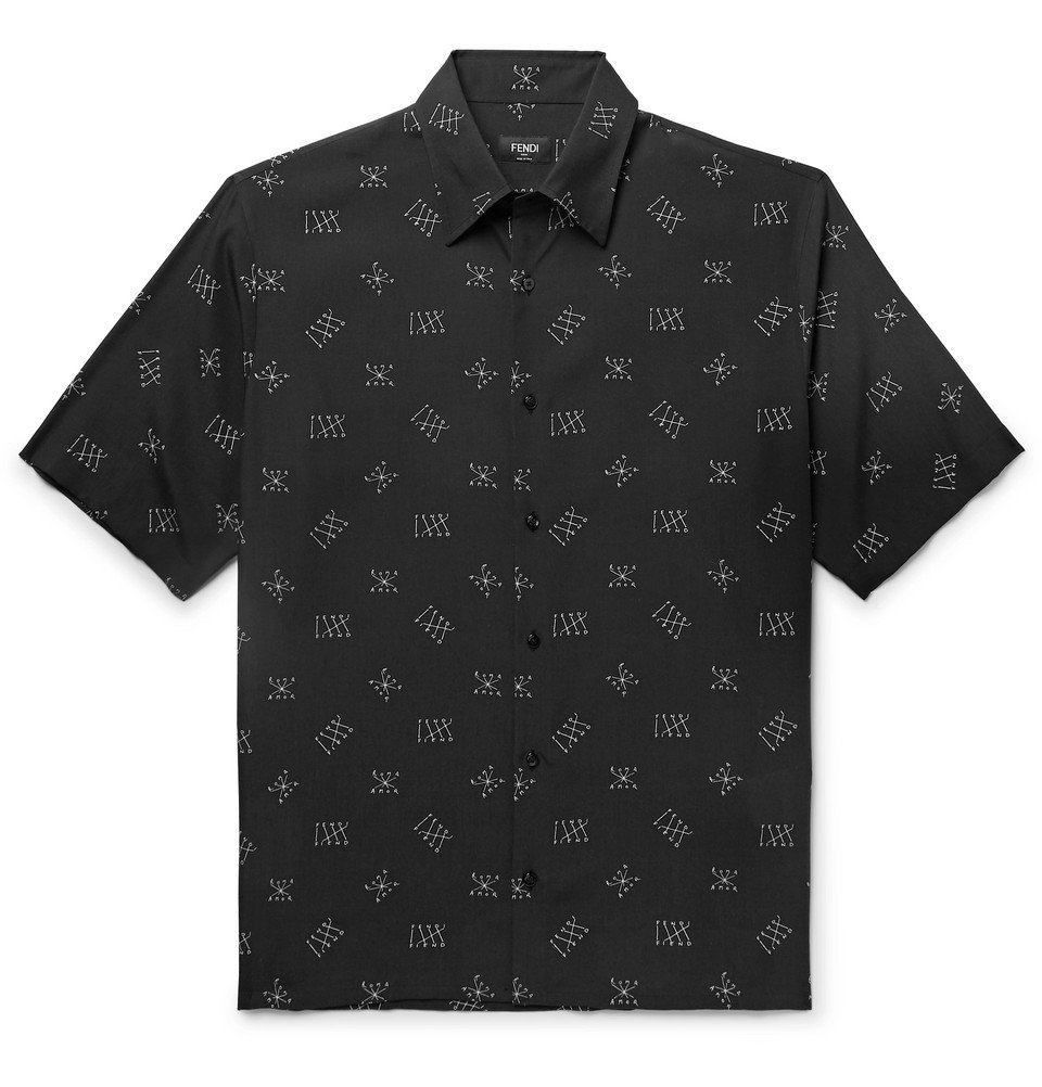Photo: Fendi - Logo-Print Lyocell Shirt - Black