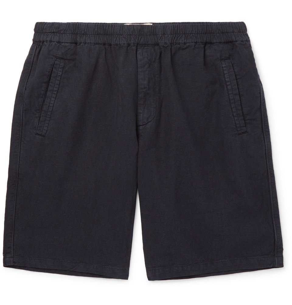Photo: Folk - Garment-Dyed Linen and Cotton-Blend Drawstring Shorts - Navy