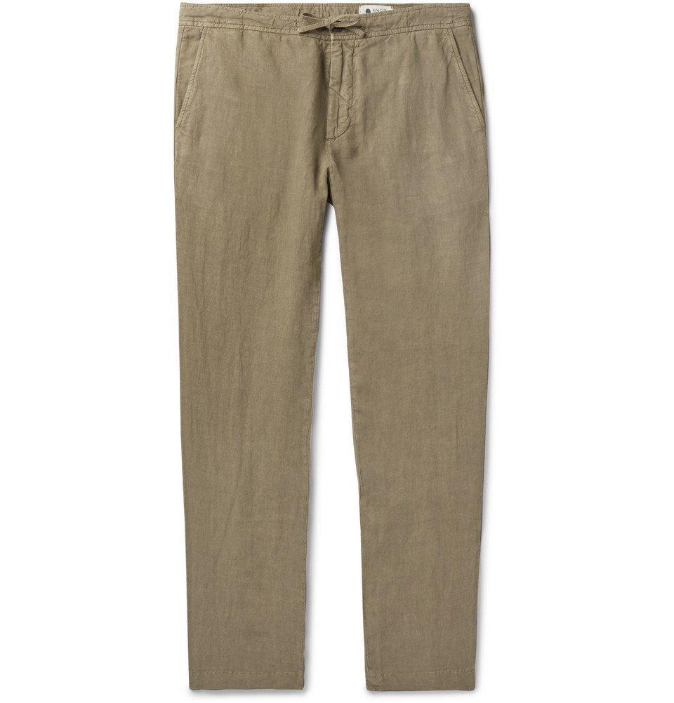 Photo: NN07 - Copenhagen Slim-Fit Garment-Dyed Linen Drawstring Trousers - Green