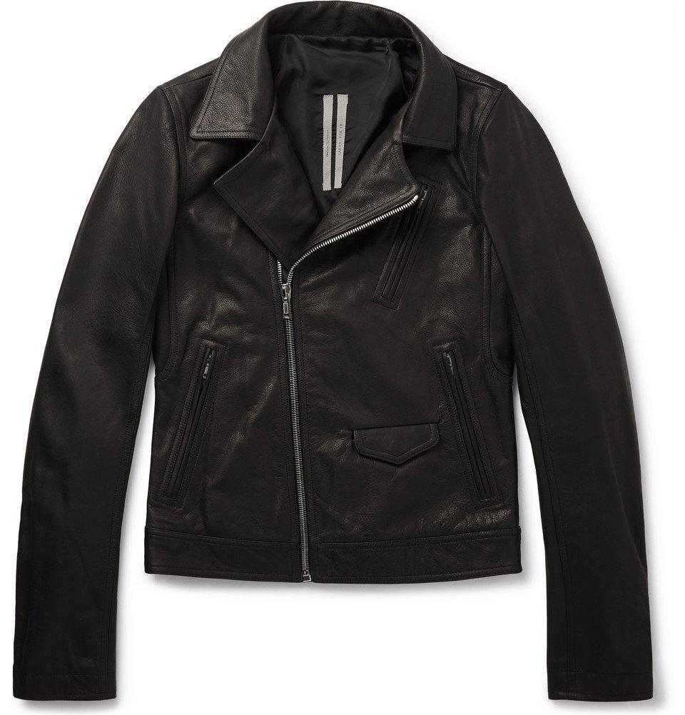 Photo: Rick Owens - Slim-Fit Leather Biker Jacket - Black