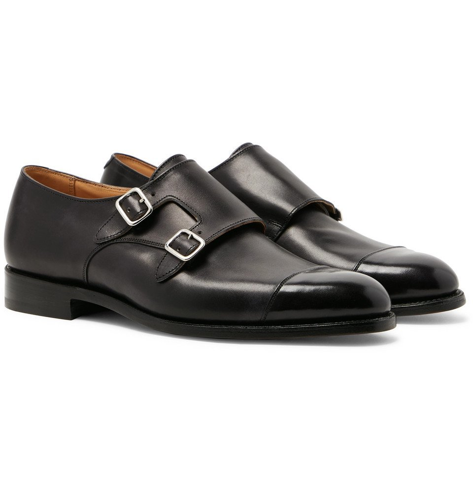 Photo: Tricker's - Leavenworth Leather Monk-Strap Shoes - Black