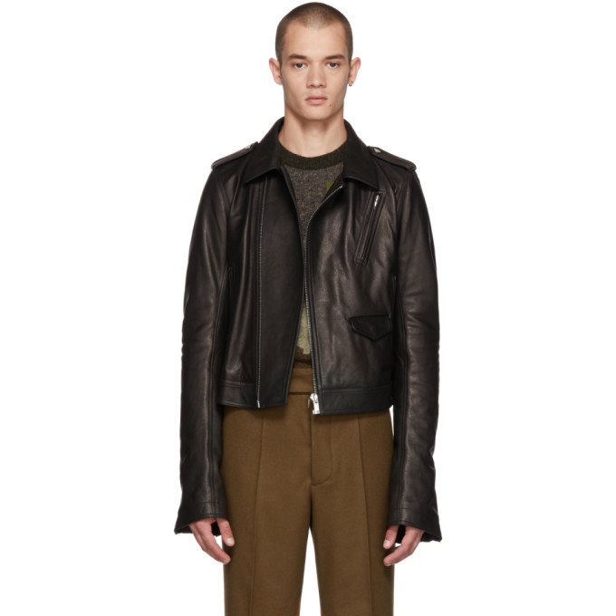 Photo: Rick Owens Black Leather Cropped Stooges Jacket