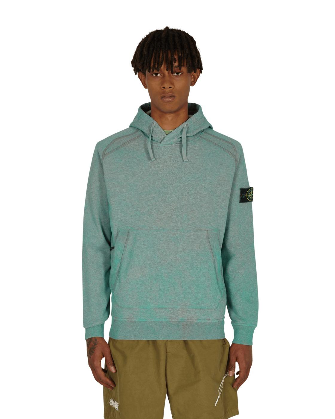 Stone Island Dust Color Treatment Hooded Sweatshirt Aqua