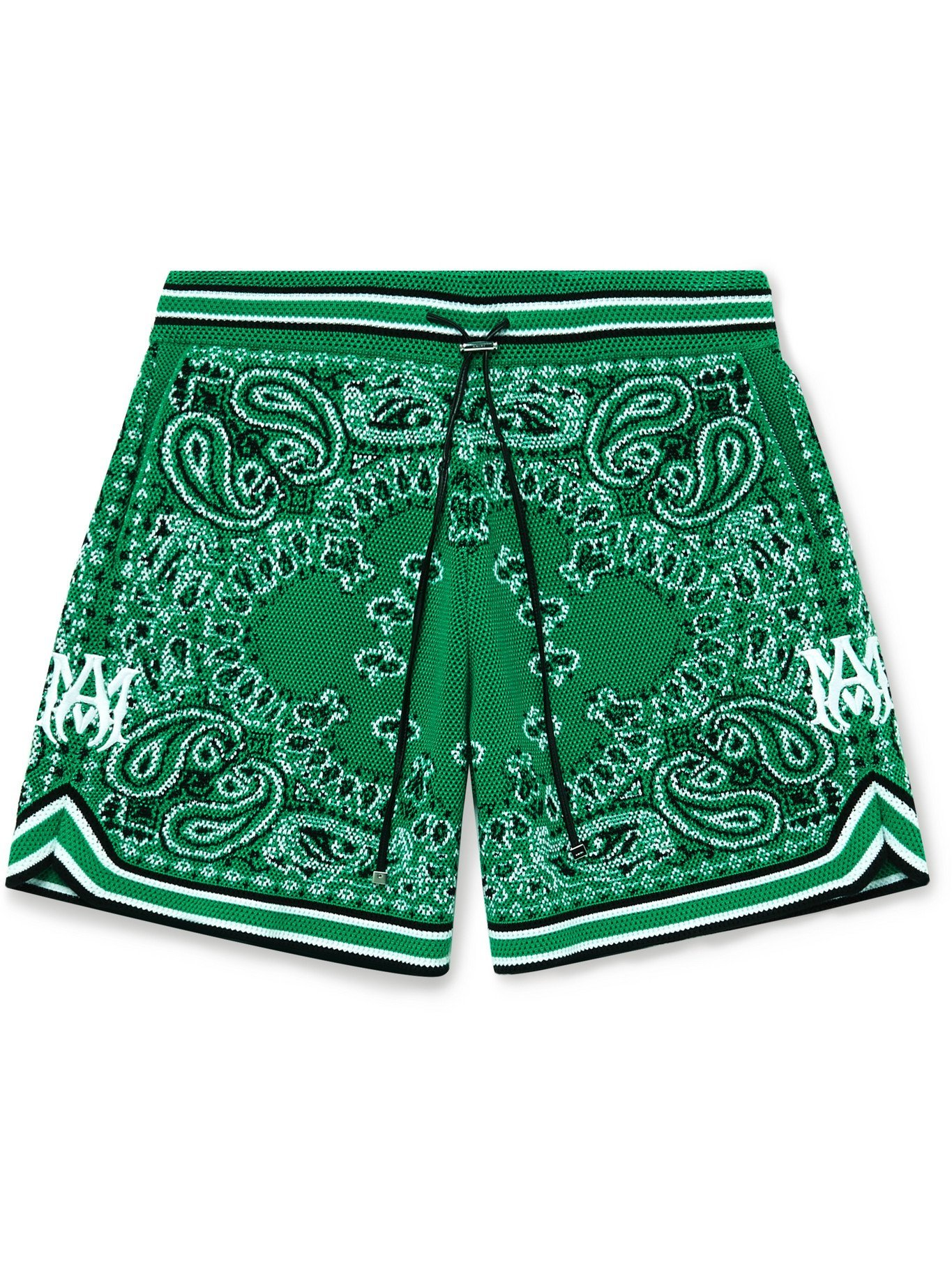 Photo: AMIRI - Wide-Leg Bandana Crocheted Cotton-Blend Drawstring Shorts - Green - L