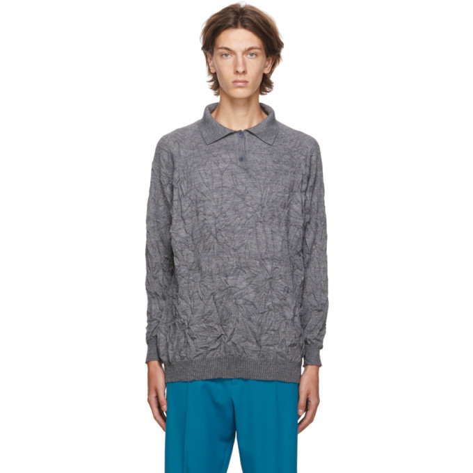 Photo: Balenciaga Grey Crinkled Wool Sweater