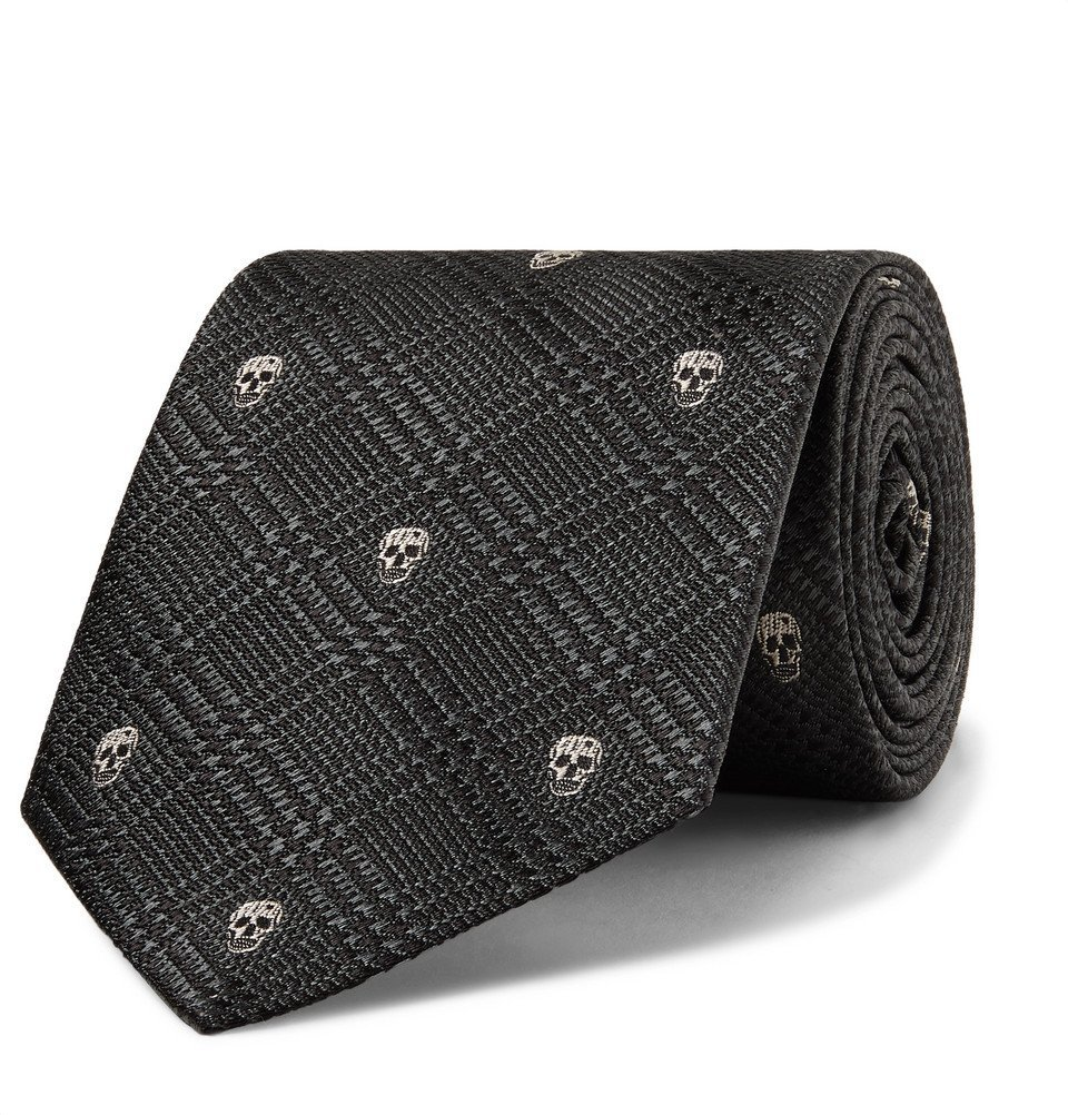 Photo: Alexander McQueen - 8cm Embroidered Prince Of Wales Checked Silk-Jacquard Tie - Gray