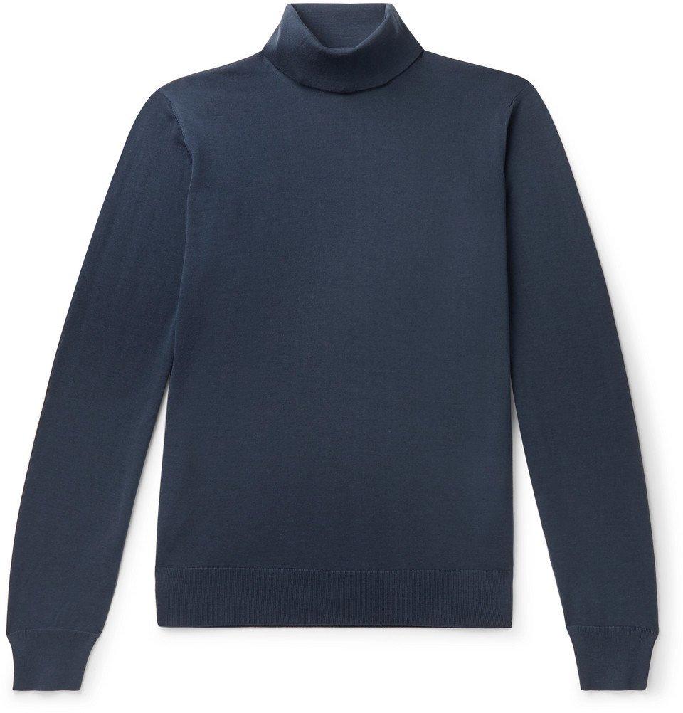 Giorgio Armani - Slim-Fit Virgin Wool Rollneck Sweater - Blue