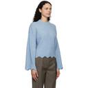 3.1 Phillip Lim Blue Wool and Alpaca Scalloped Sweater