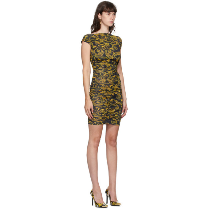 Versace Jeans Couture Black and Gold Paisley Dress