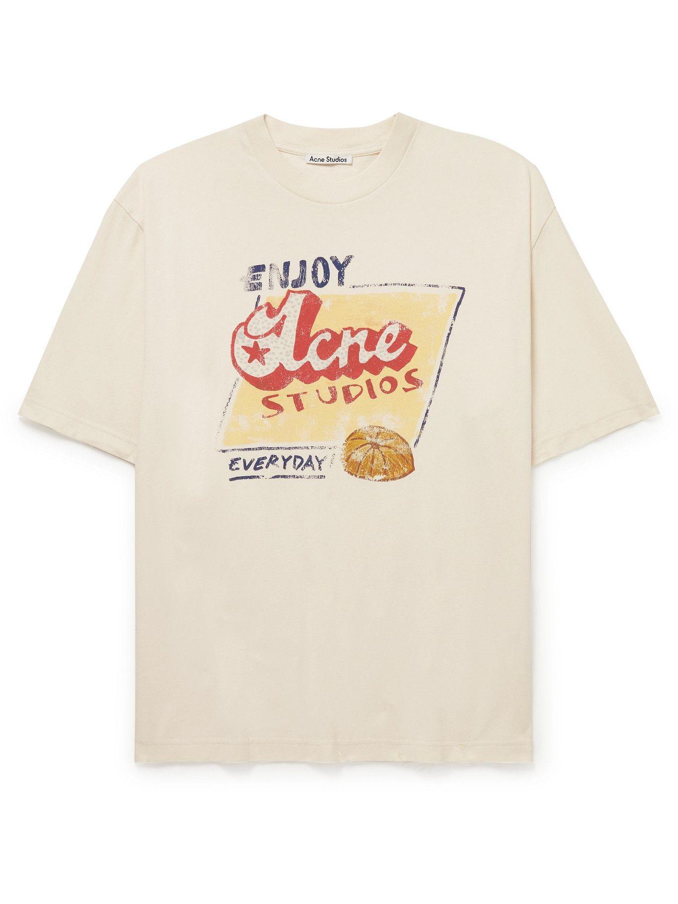 Photo: Acne Studios - Grant Levy Oversized Logo-Print Cotton-Jersey T-Shirt - Neutrals
