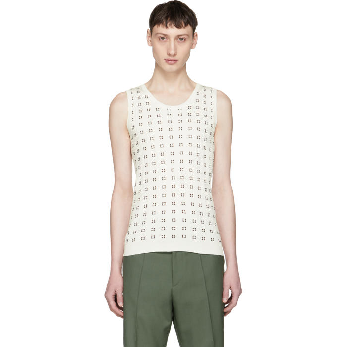 Photo: Marni White and Brown Squares Tank Top