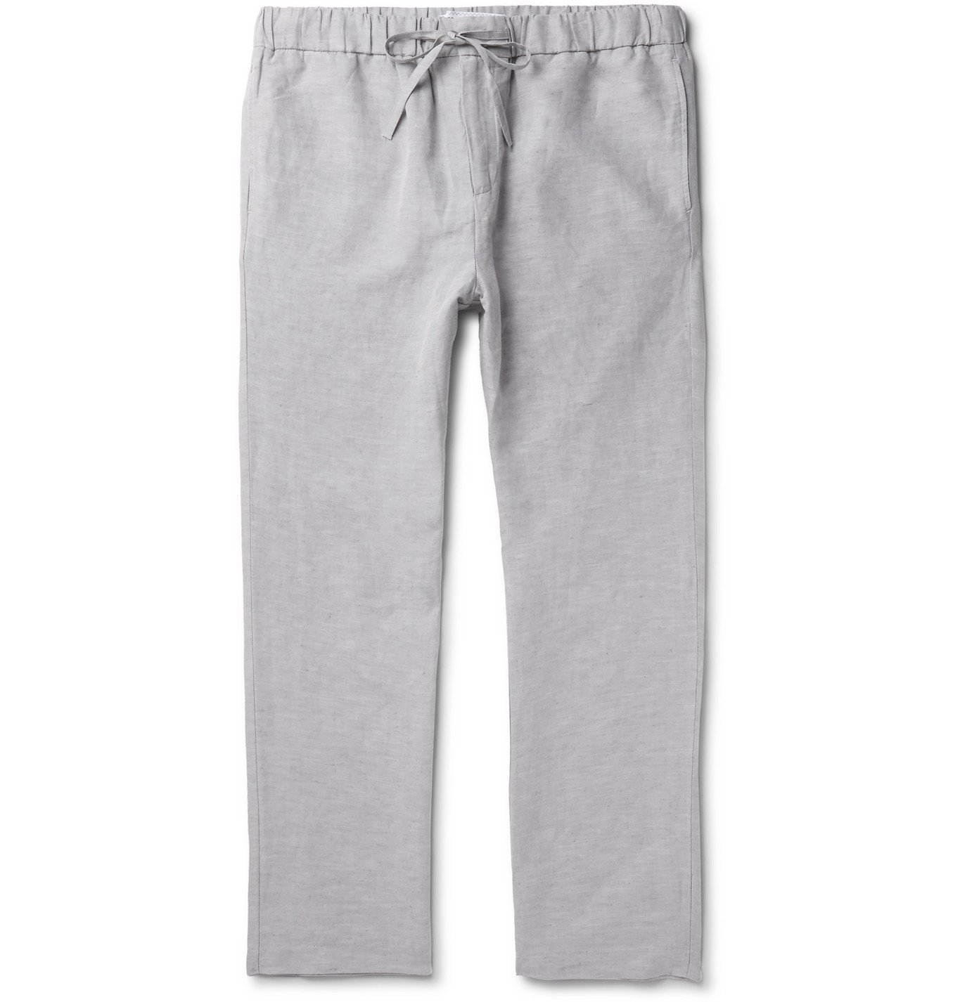 Photo: Frescobol Carioca - Slub Tencel and Linen-Blend Drawstring Trousers - Gray