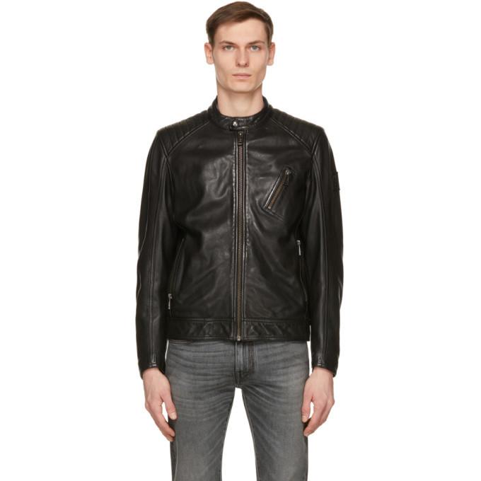 Photo: Belstaff Black Leather Racer 2.0 Jacket