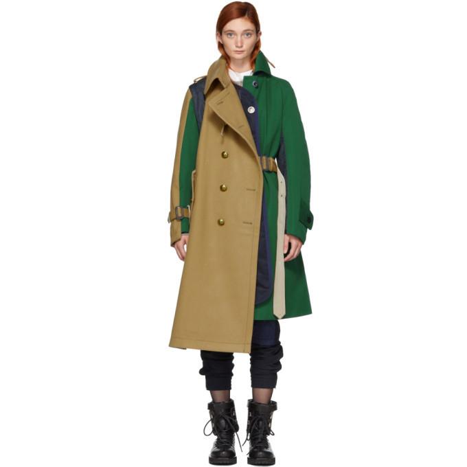 Sacai Green and Beige Wool Combo Coat