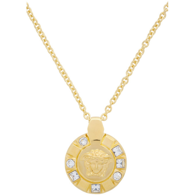 Versace Gold Medusa Crystal Palazzo Necklace
