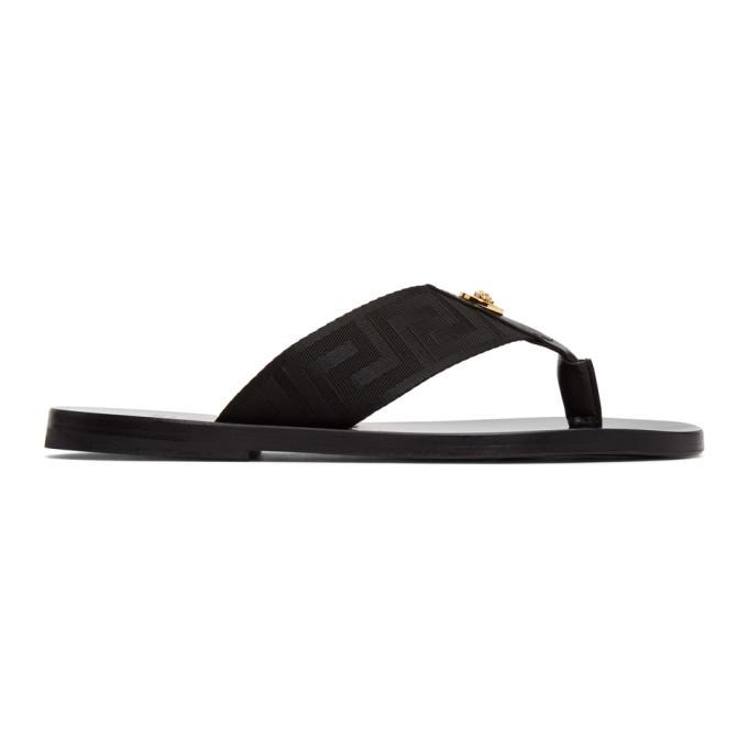 Photo: Versace Black Greek Key Thong Sandals