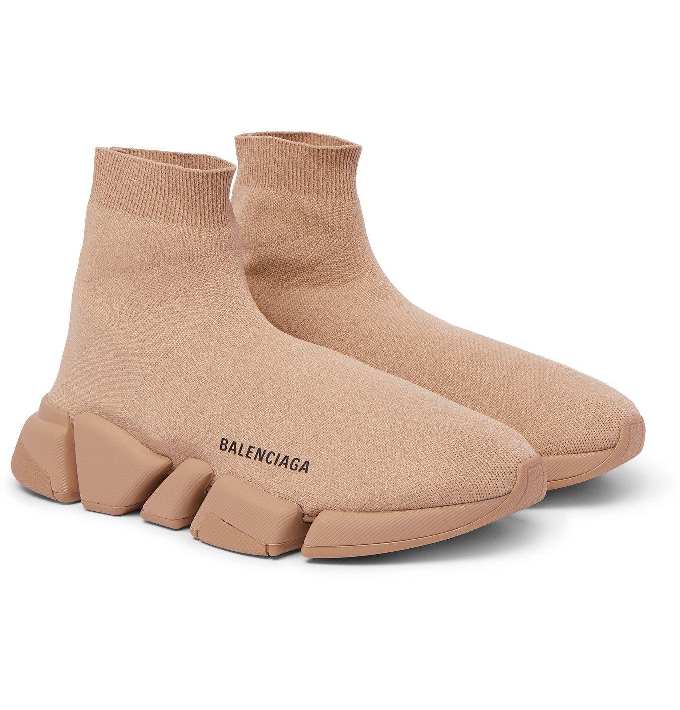 Photo: Balenciaga - Speed 2.0 Logo-Print Stretch-Knit Slip-On Sneakers - Neutrals