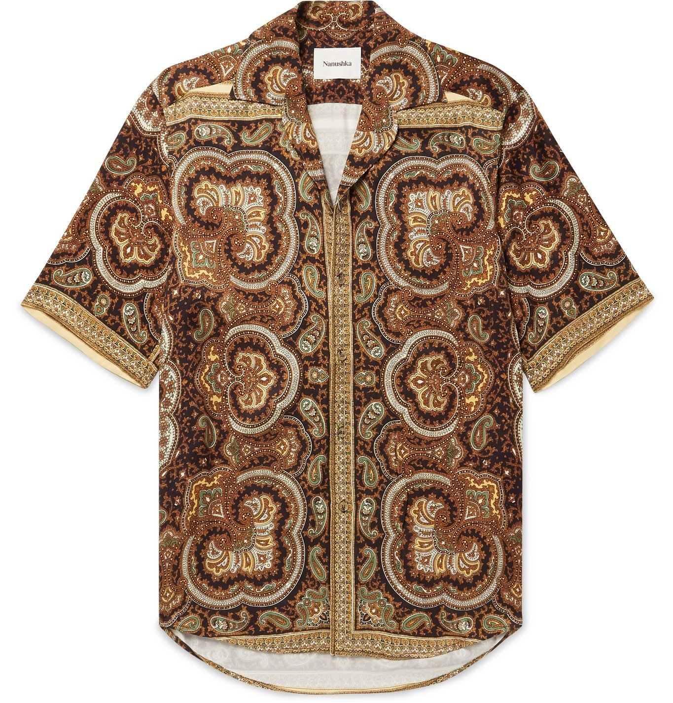 Photo: Nanushka - Ville Camp-Collar Printed Satin Shirt - Brown