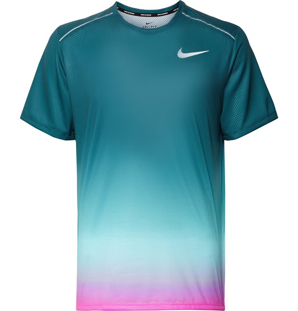Photo: Nike Running - Miler Printed Degradé Dri-FIT T-Shirt - Blue