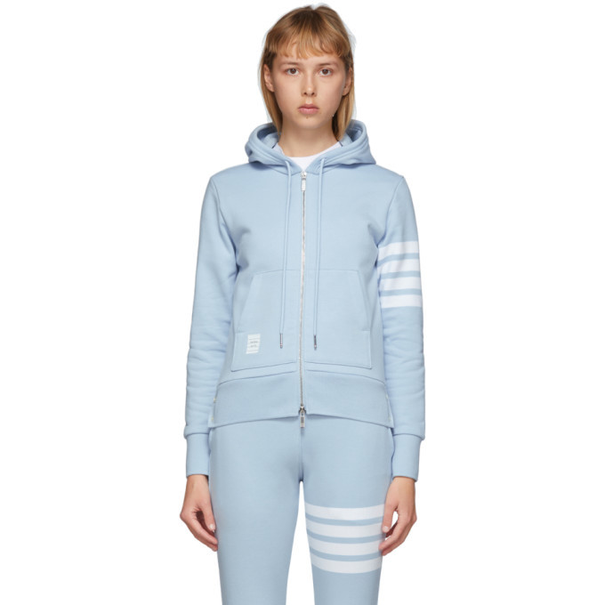 Photo: Thom Browne Blue Classic Loopback 4-Bar Hoodie