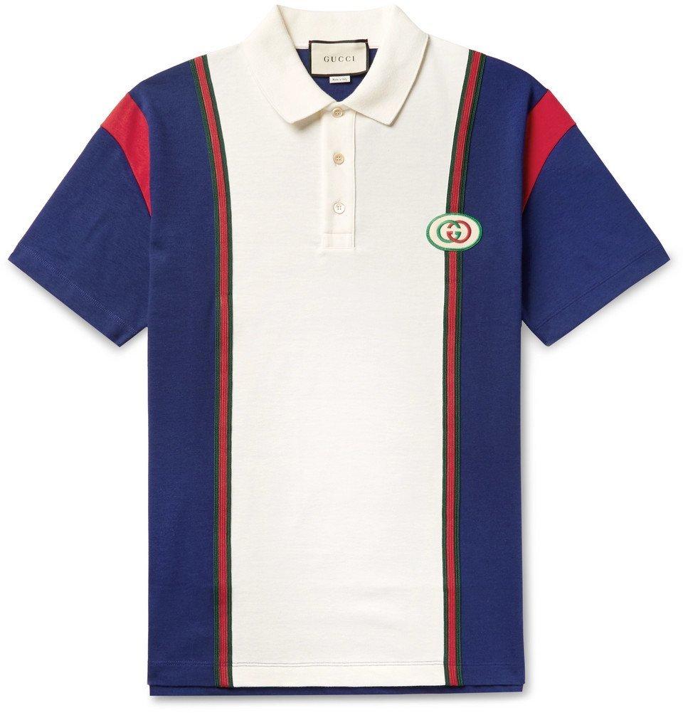 Photo: Gucci - Logo-Appliquéd Webbing-Trimmed Cotton-Jersey Polo Shirt - White
