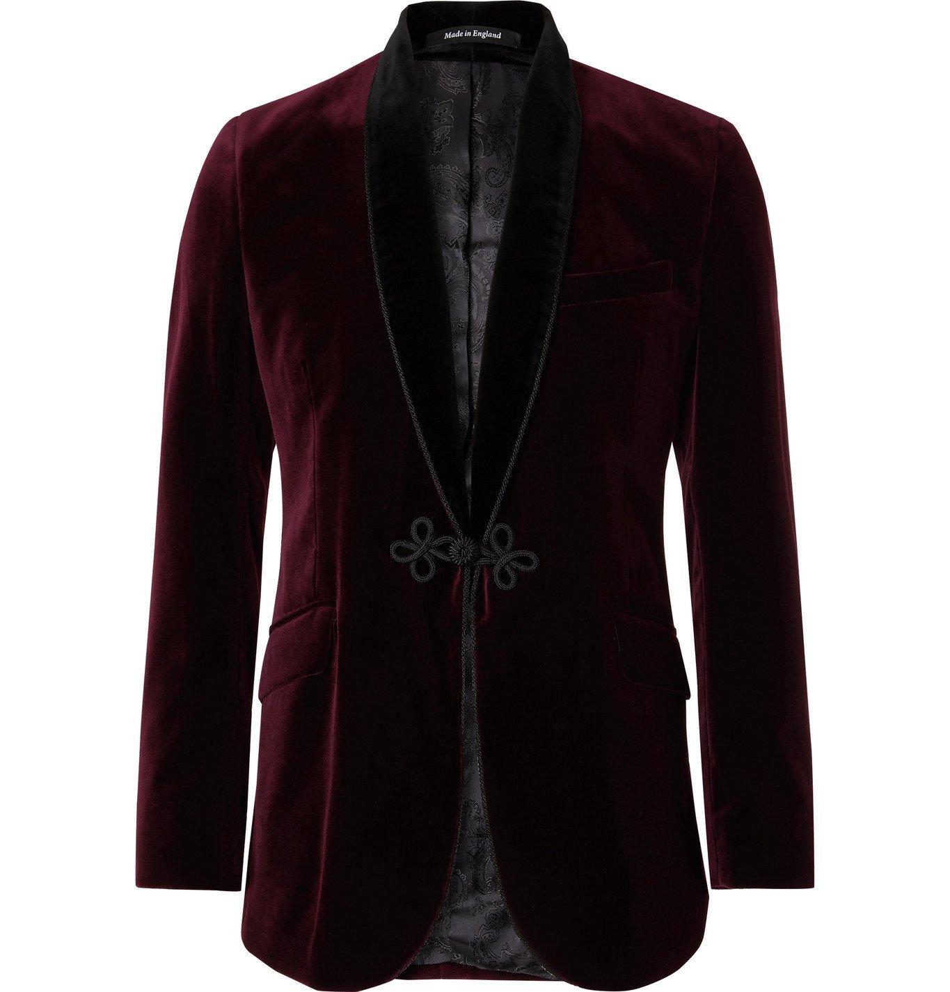 Photo: Favourbrook - Shawl-Collar Velvet Tuxedo Jacket - Burgundy