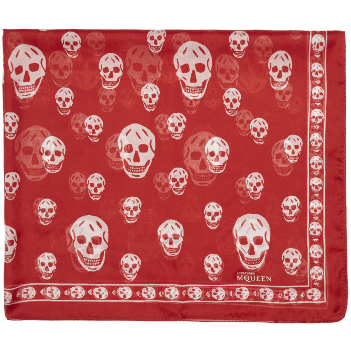 Photo: Alexander McQueen Red and White Skull Scarf