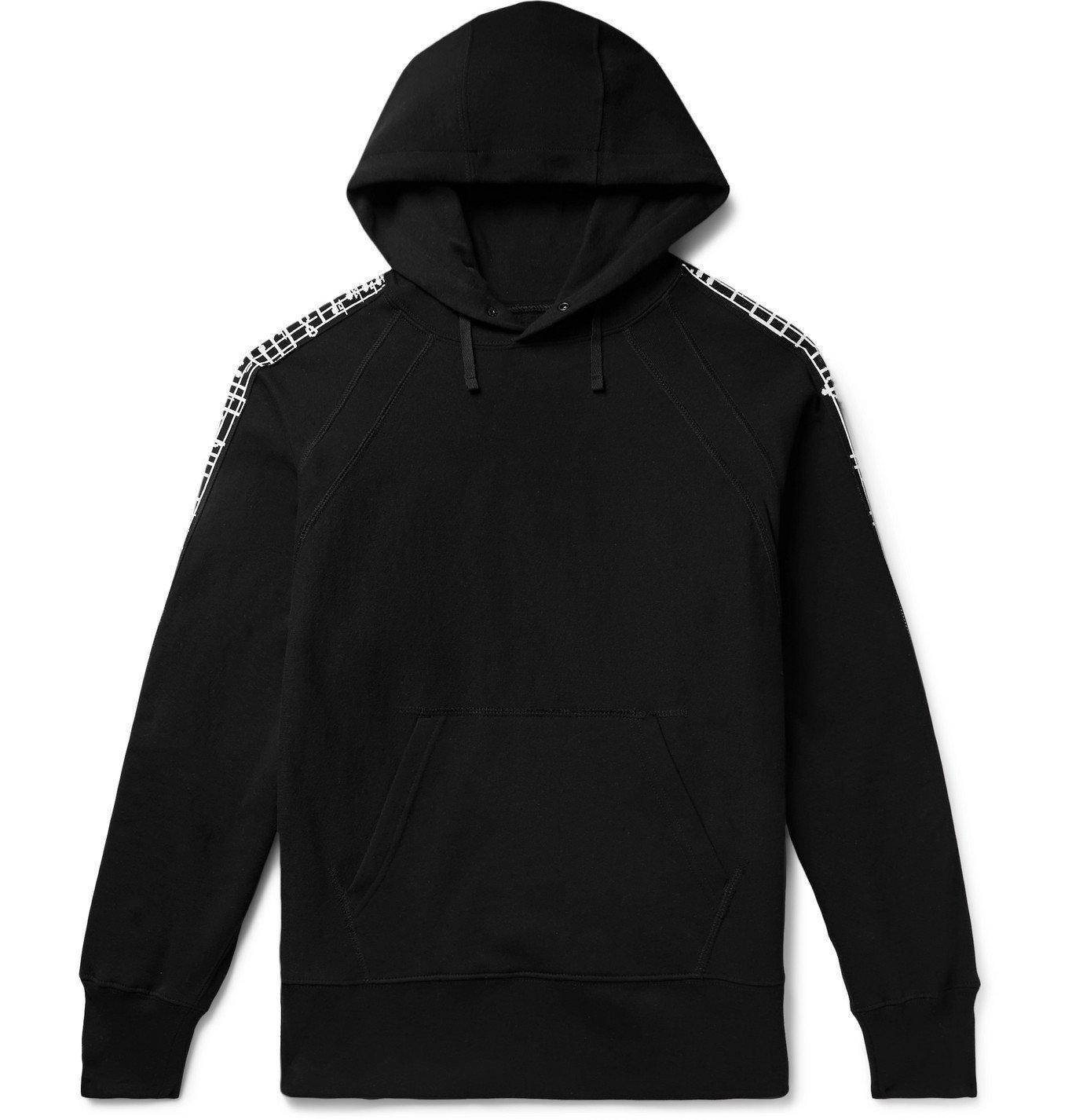 Photo: Engineered Garments - Jacquard-Trimmed Fleece-Back Cotton-Jersey Hoodie - Black
