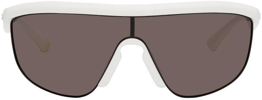 Photo: Bottega Veneta White Matte Shield Sunglasses
