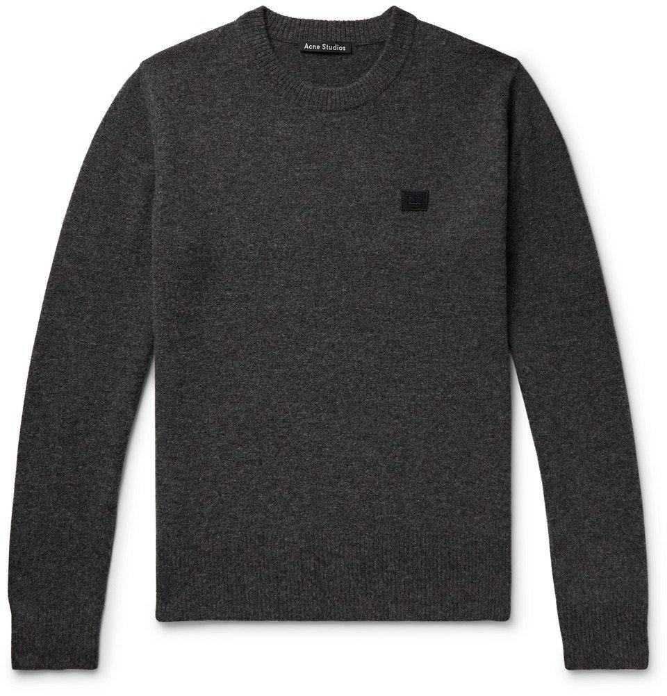 Acne Studios - Nalon Appliquéd Mélange Wool Sweater - Men - Charcoal