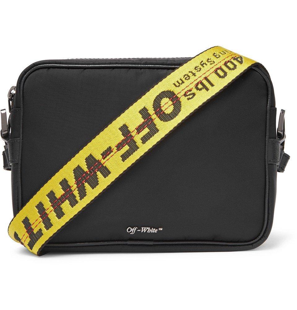 Photo: Off-White - Logo-Jacquard Webbing and Shell Messenger Bag - Black