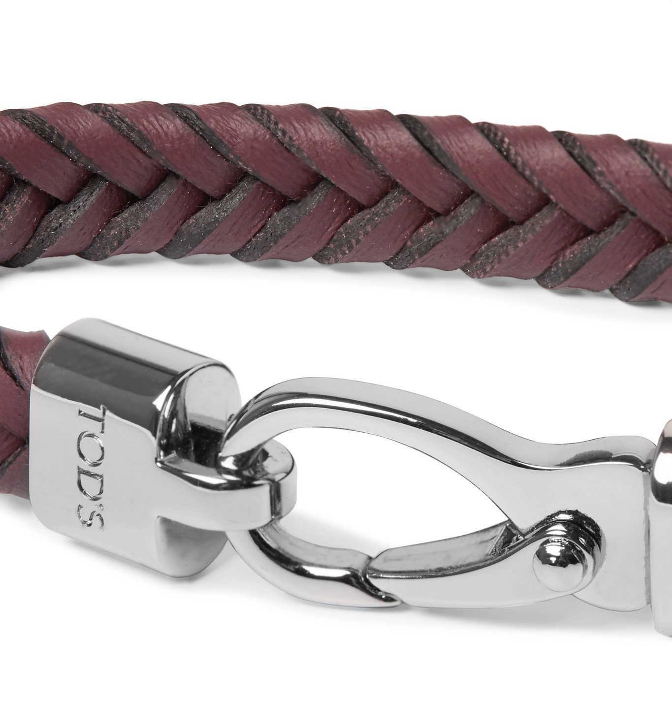 Tod's - Woven Leather and Silver-Tone Bracelet - Red