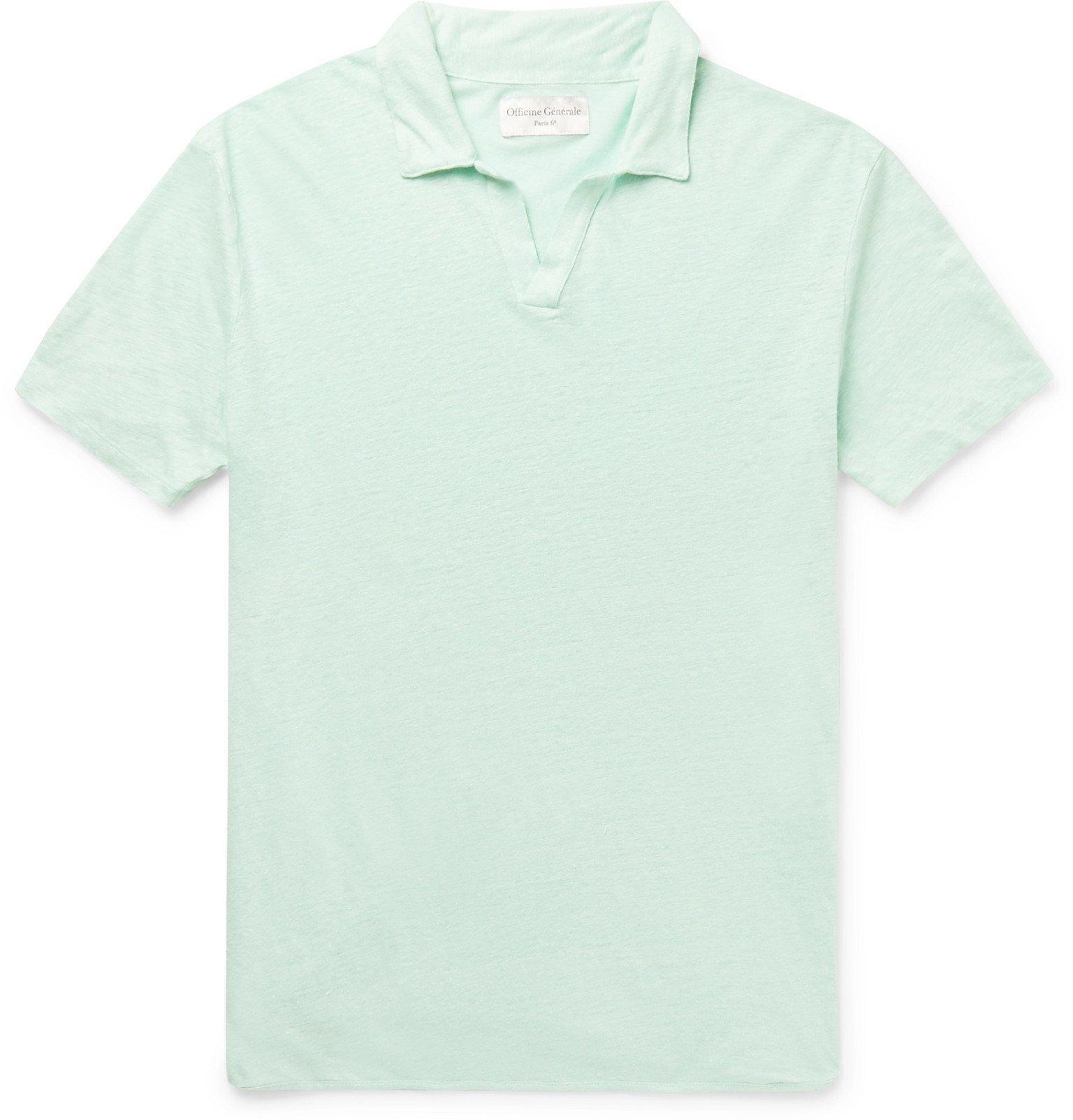 Photo: Officine Generale - Simon Slim-Fit Garment-Dyed Linen Polo Shirt - Green