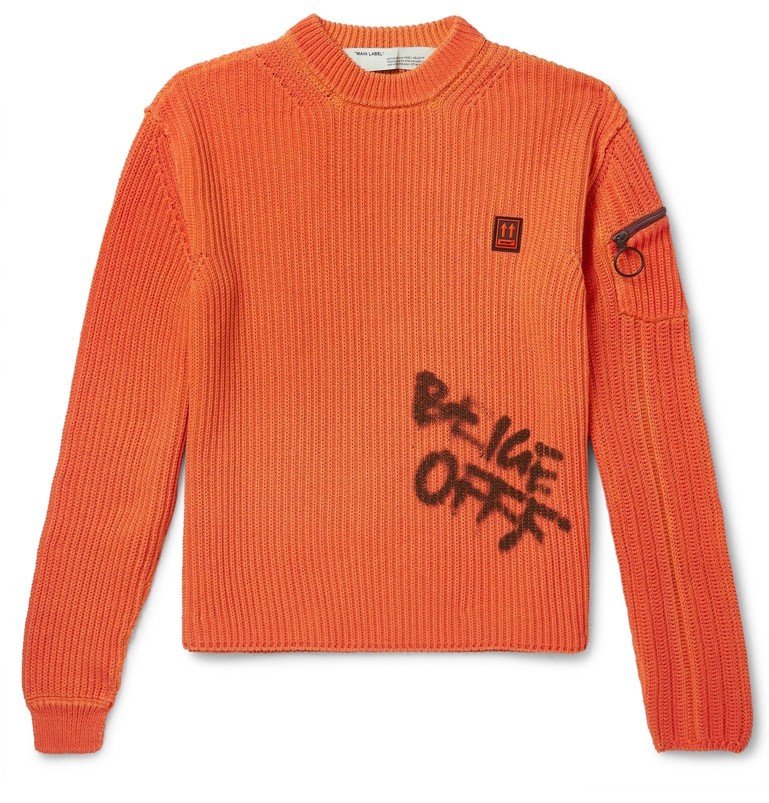 Photo: Off-White - Logo-Print Ribbed Cotton Sweater - Orange