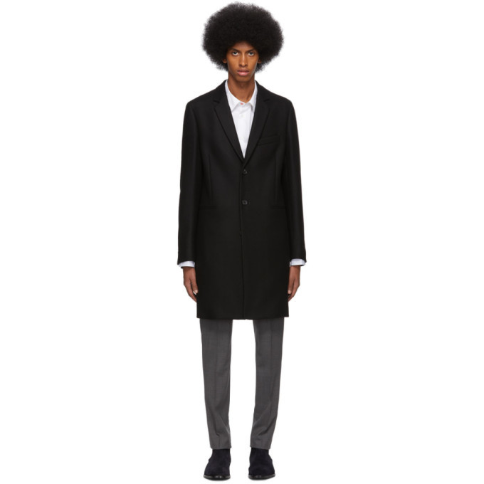 Photo: PS by Paul Smith Black Wool Single-Breasted Overcoat