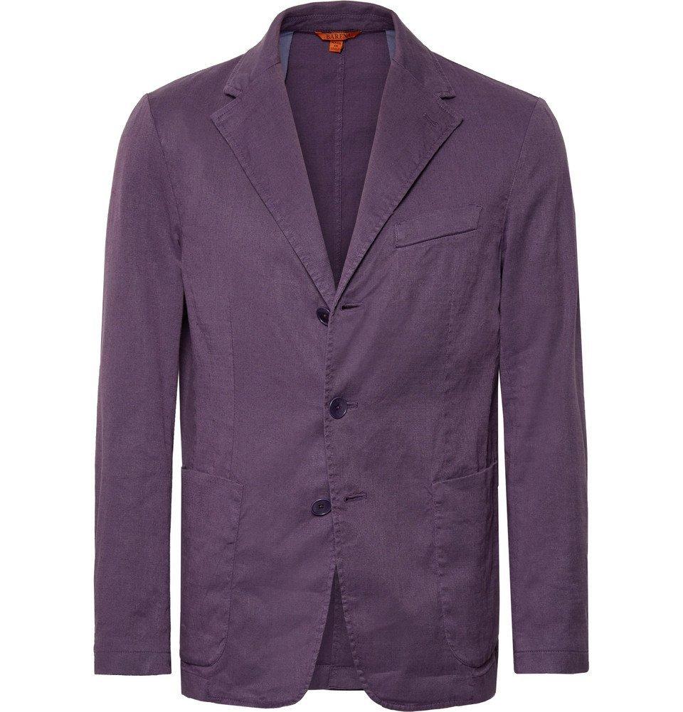 Photo: Barena - Purple Slim-Fit Unstructured Stretch Linen and Cotton-Blend Blazer - Purple