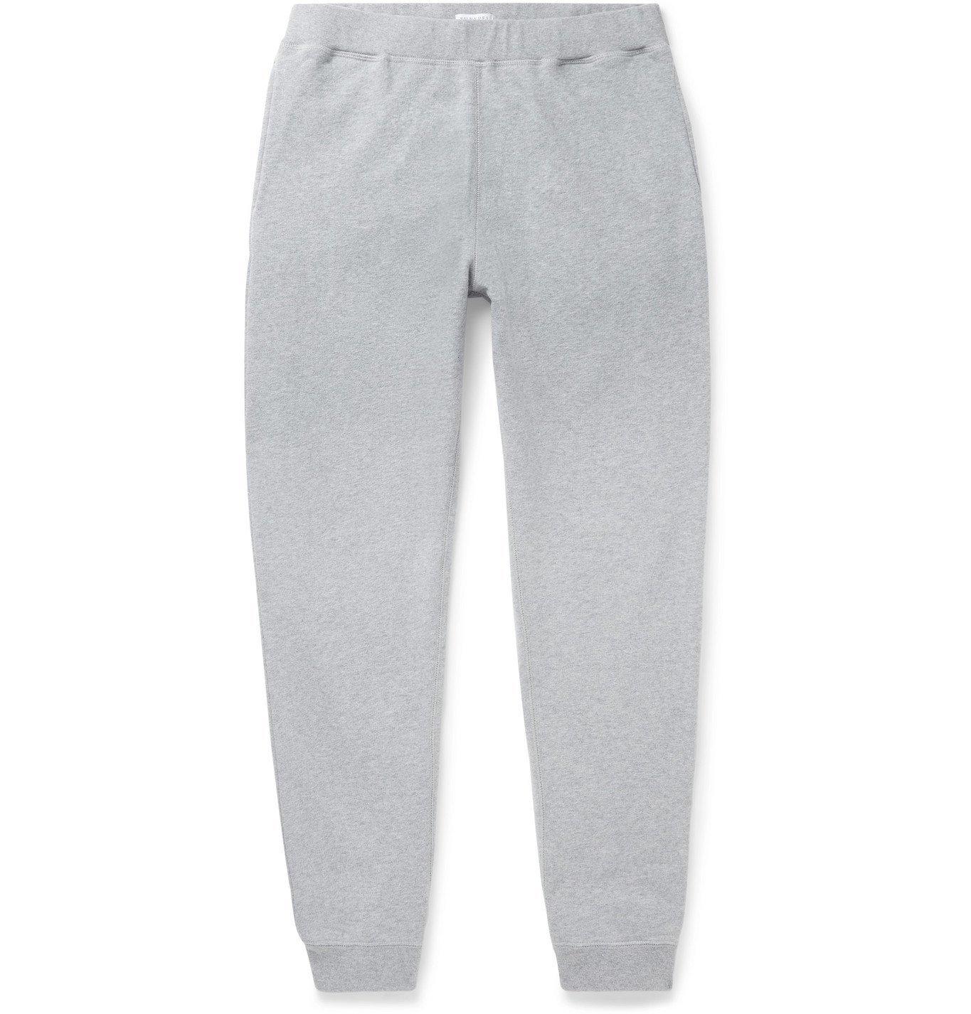 Photo: Sunspel - Slim-Fit Tapered Melangé Loopback Cotton-Jersey Sweatpants - Gray