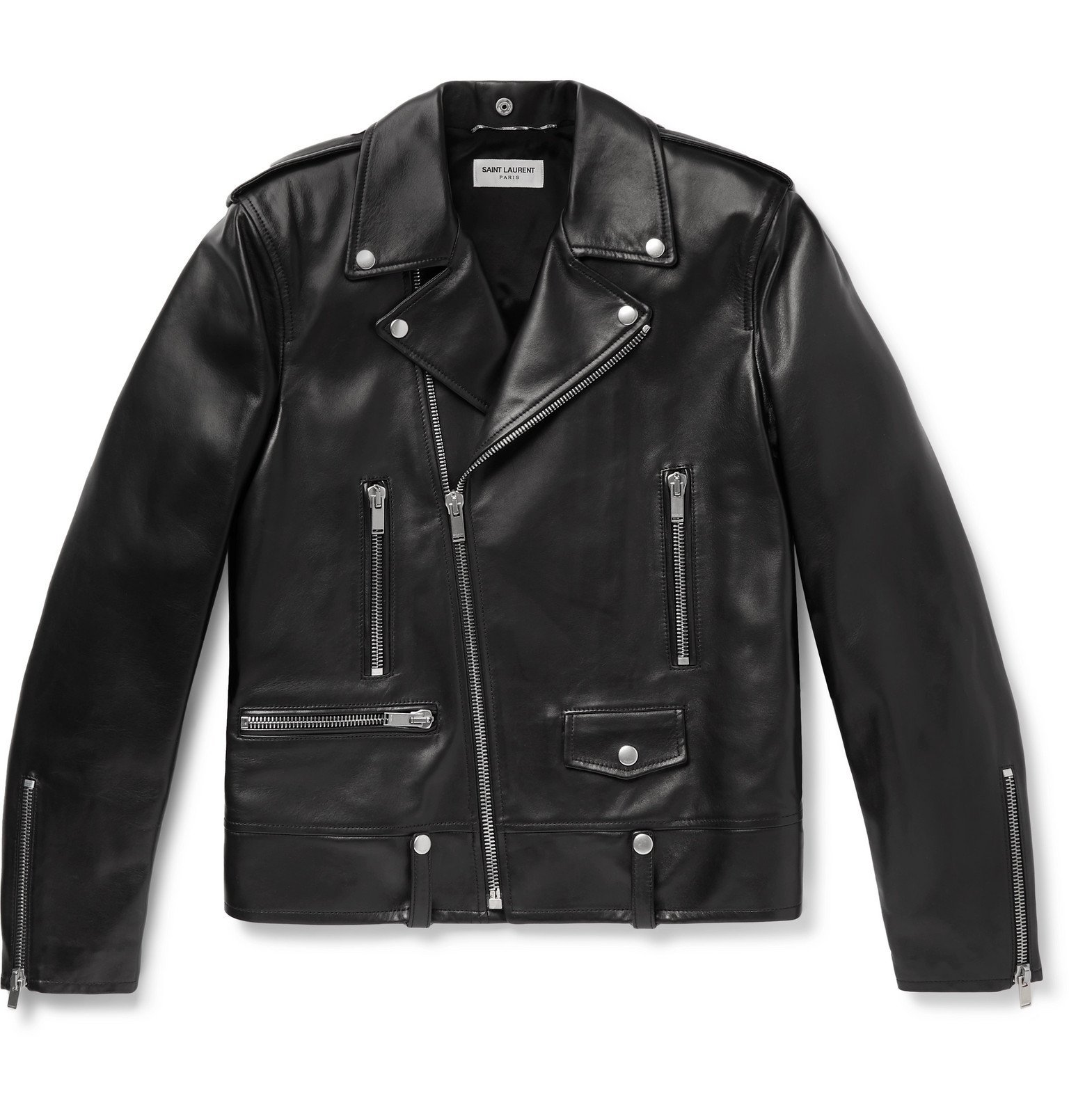 Photo: SAINT LAURENT - Slim-Fit Leather Biker Jacket - Black