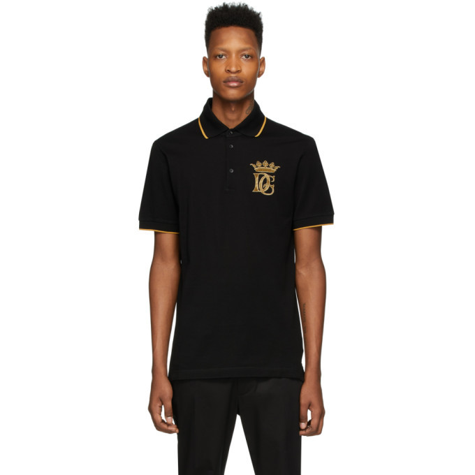 Photo: Dolce and Gabbana Black Embroidered Logo Polo
