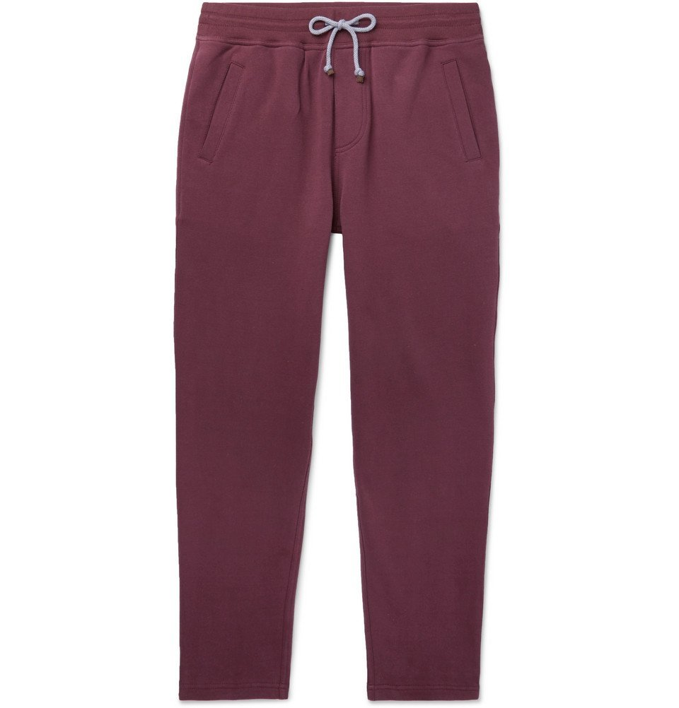 Photo: Brunello Cucinelli - Fleece-Back Stretch-Cotton Jersey Sweatpants - Burgundy