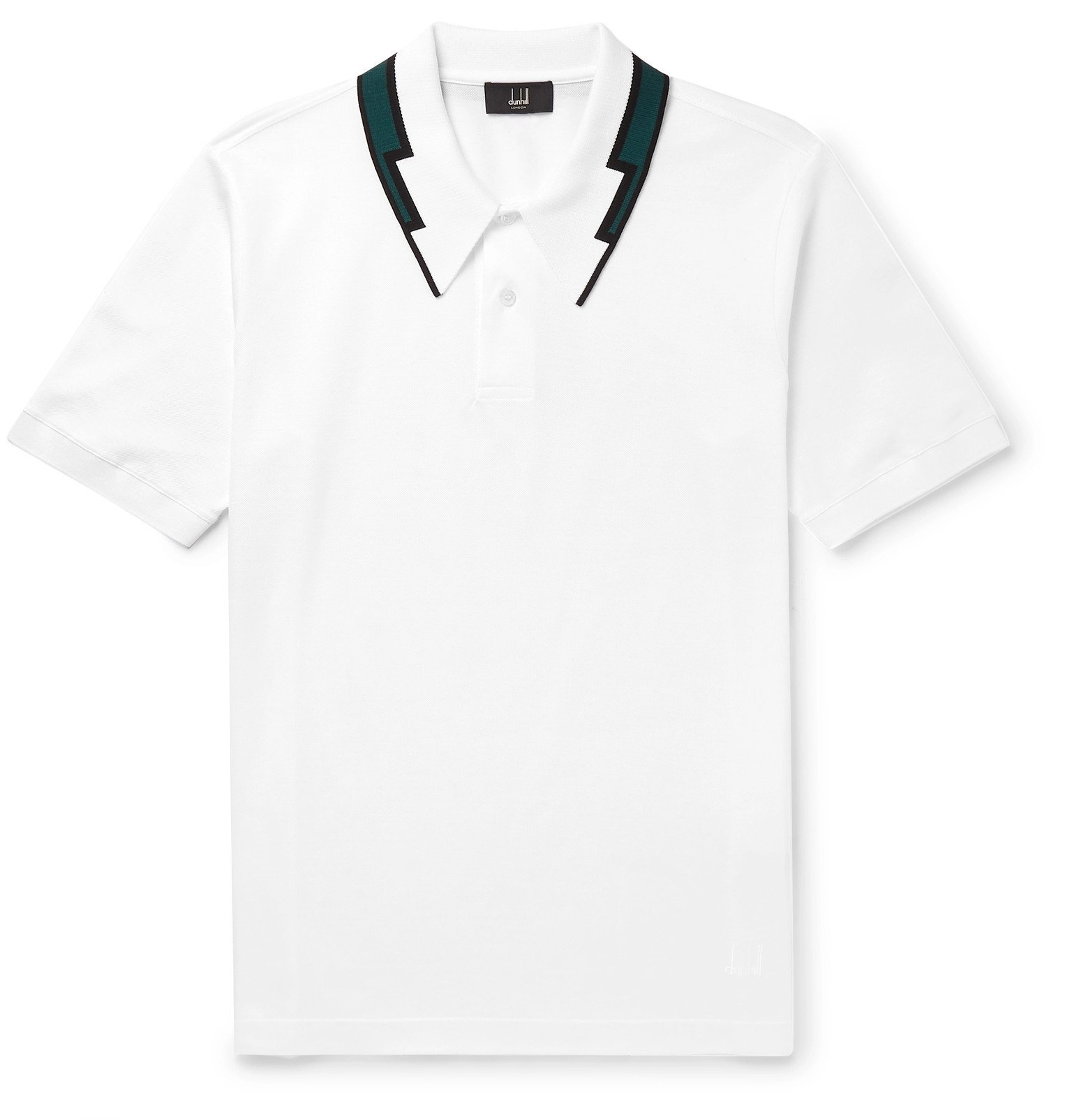 Dunhill - Slim-Fit Contrast-Tipped Cotton-Piqué Polo Shirt - White