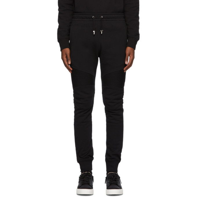 Photo: Balmain Black Embossed Ribbed Lounge Pants