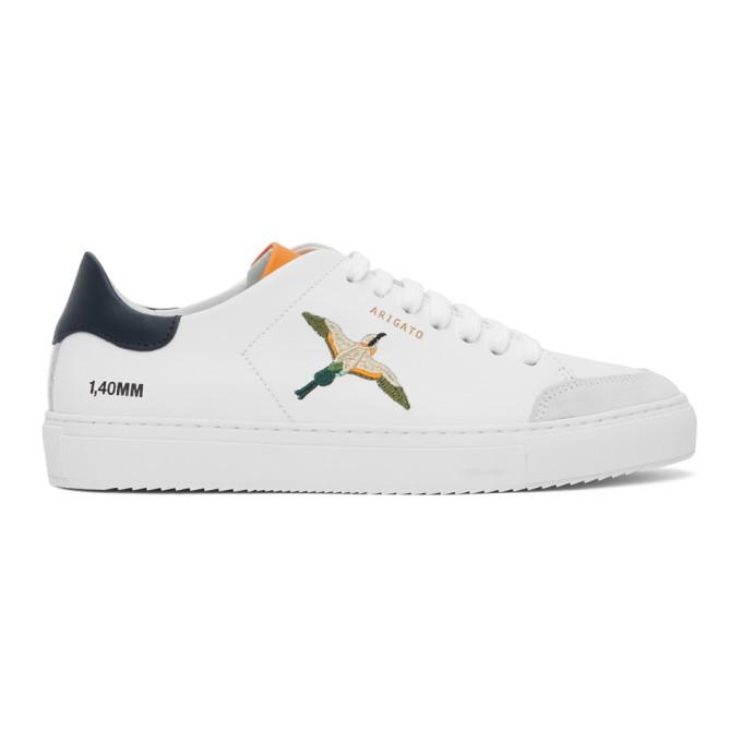 Photo: Axel Arigato SSENSE Exclusive White and Orange Bird Clean 90 Sneakers