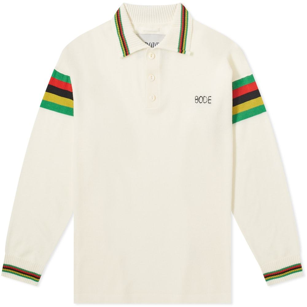 Photo: BODE Cycling Stripe Logo Knitted Long Sleeve Polo