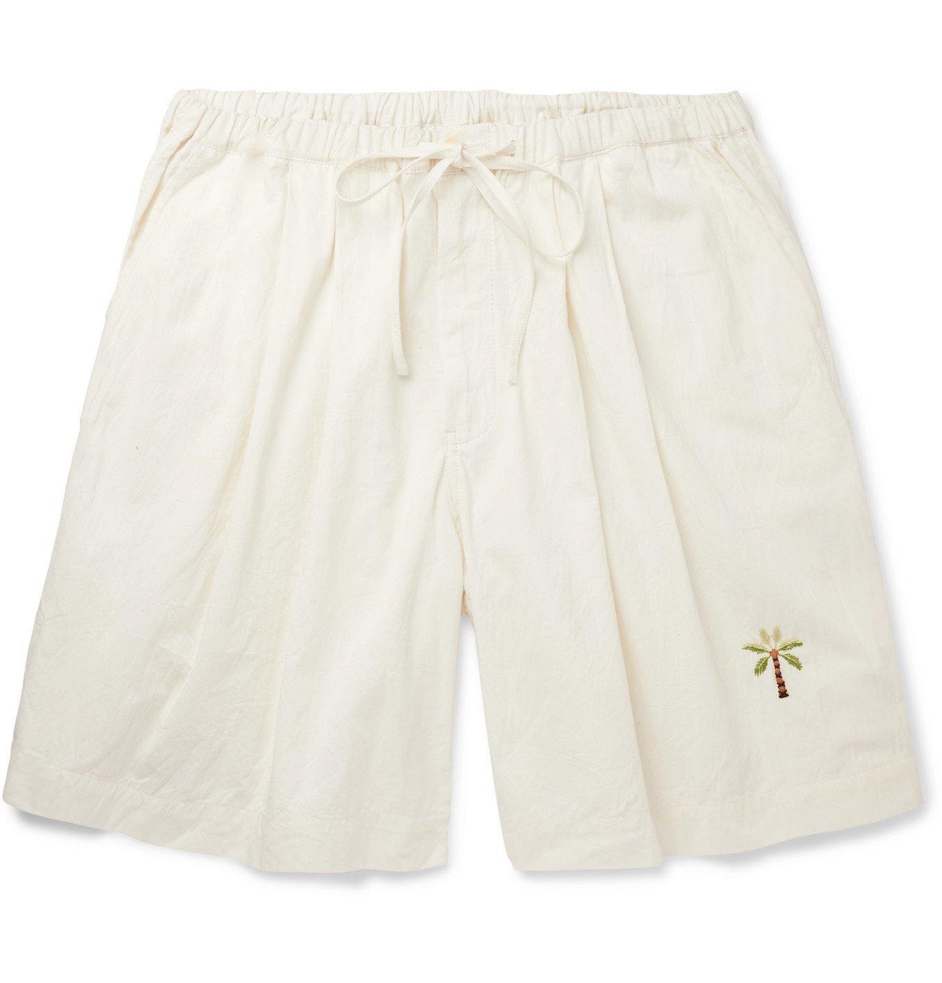 Photo: Story Mfg. - Wide-Leg Embroidered Organic Cotton Drawstring Shorts - Neutrals