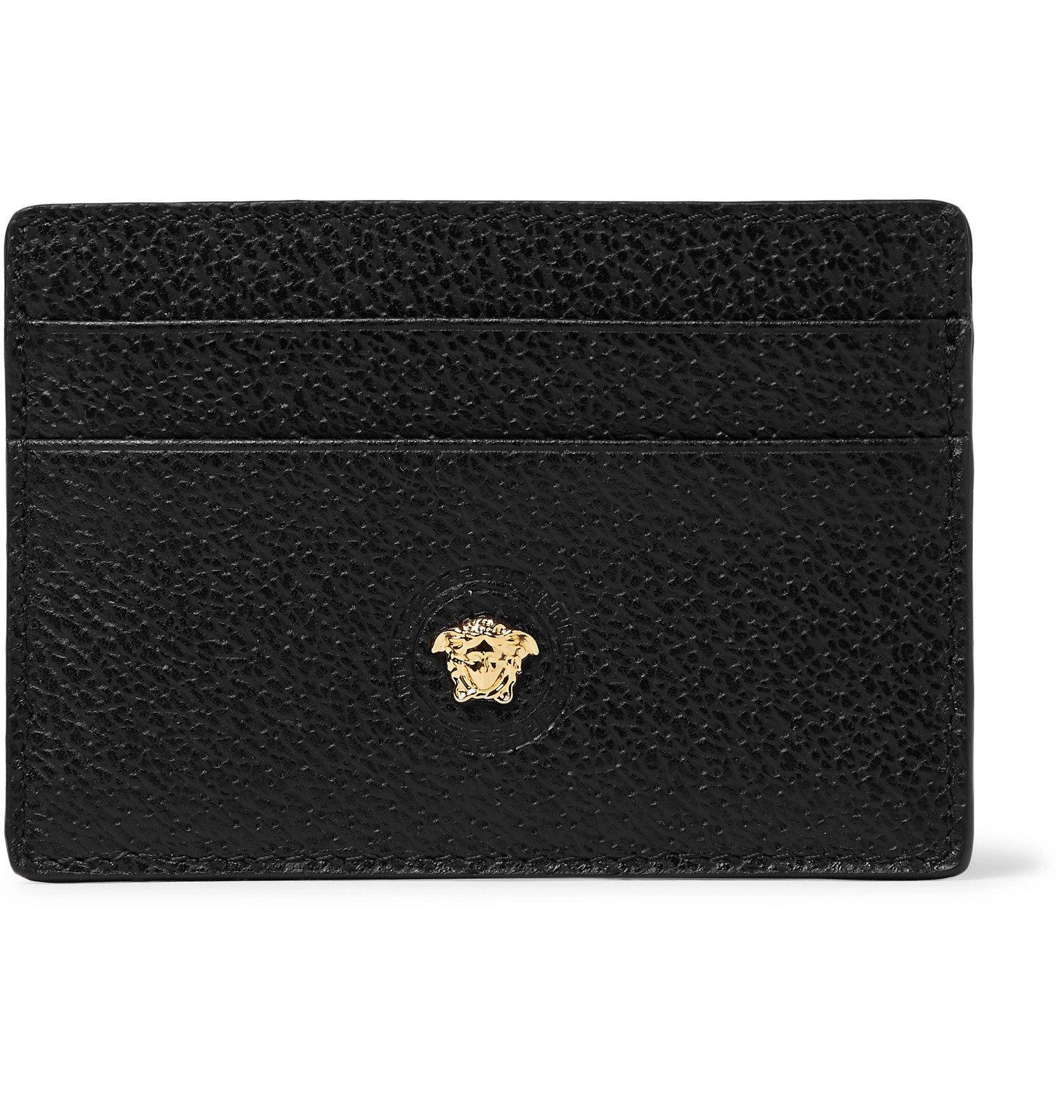 Photo: Versace - Logo-Embellished Full-Grain Leather Cardholder - Black