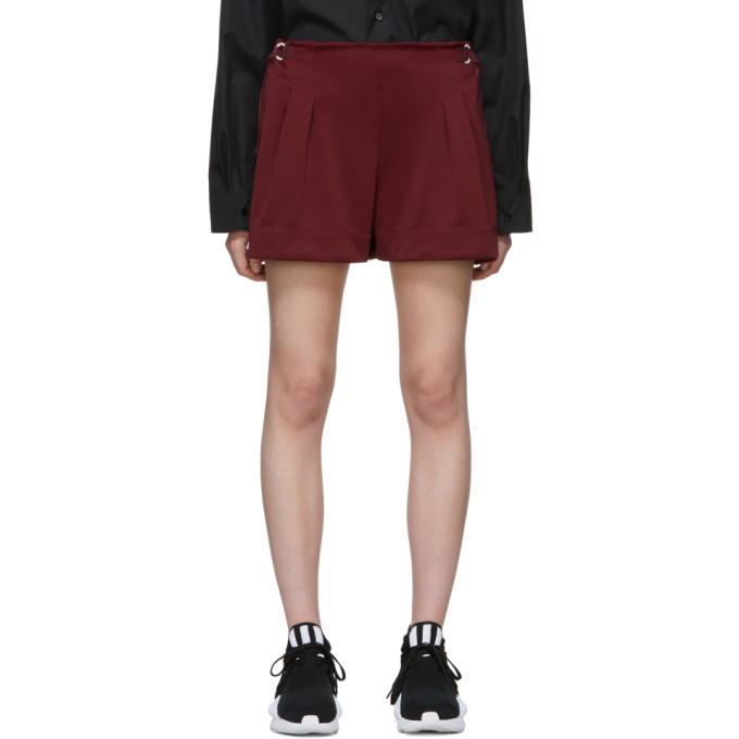 Photo: Y-3 Burgundy 3-Stripes Track Shorts
