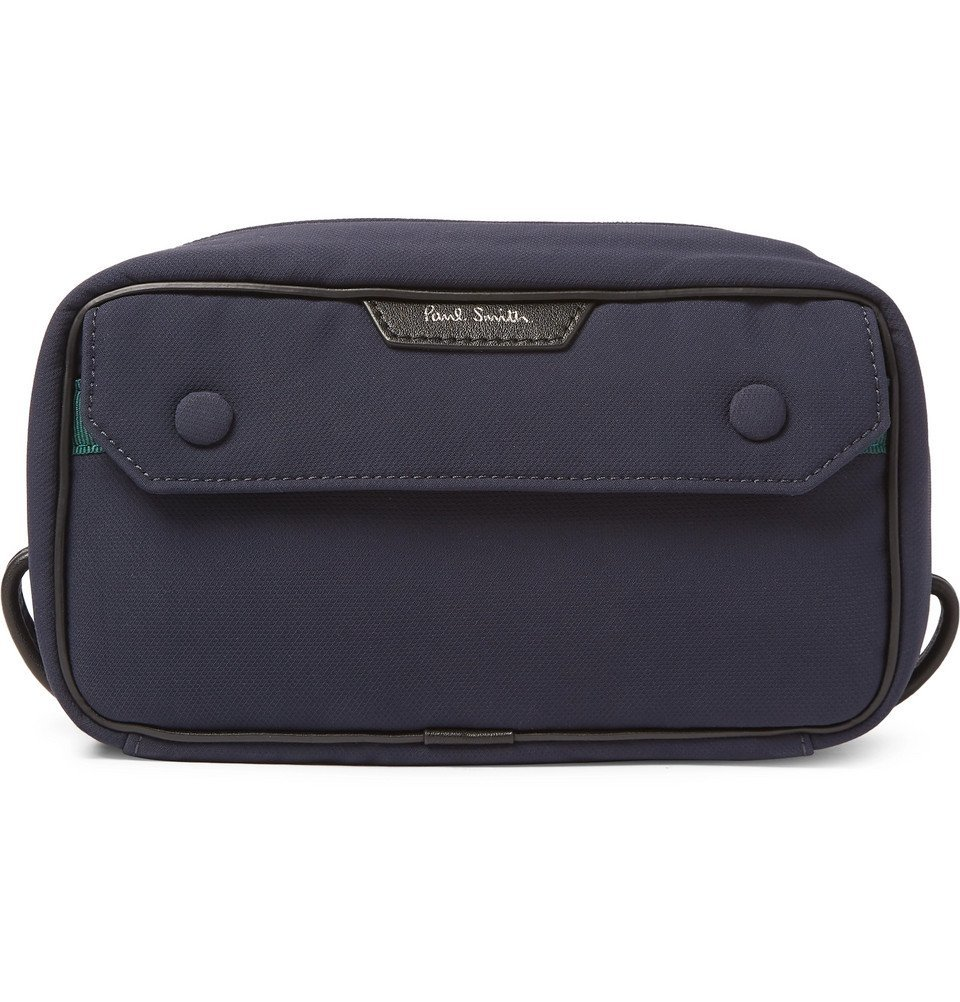 Photo: Paul Smith - Leather-Trimmed Shell Wash Bag - Navy