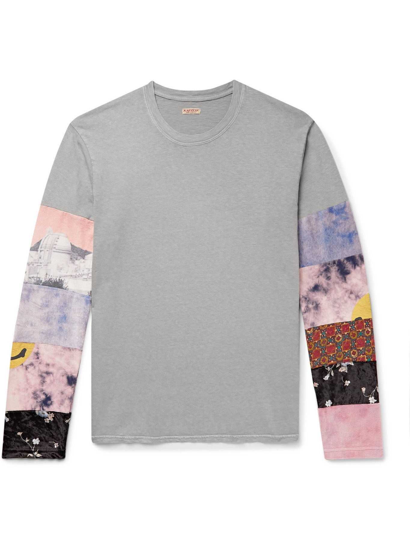 KAPITAL - Patchwork-Panelled Cotton-Jersey and Velour T-Shirt - Gray
