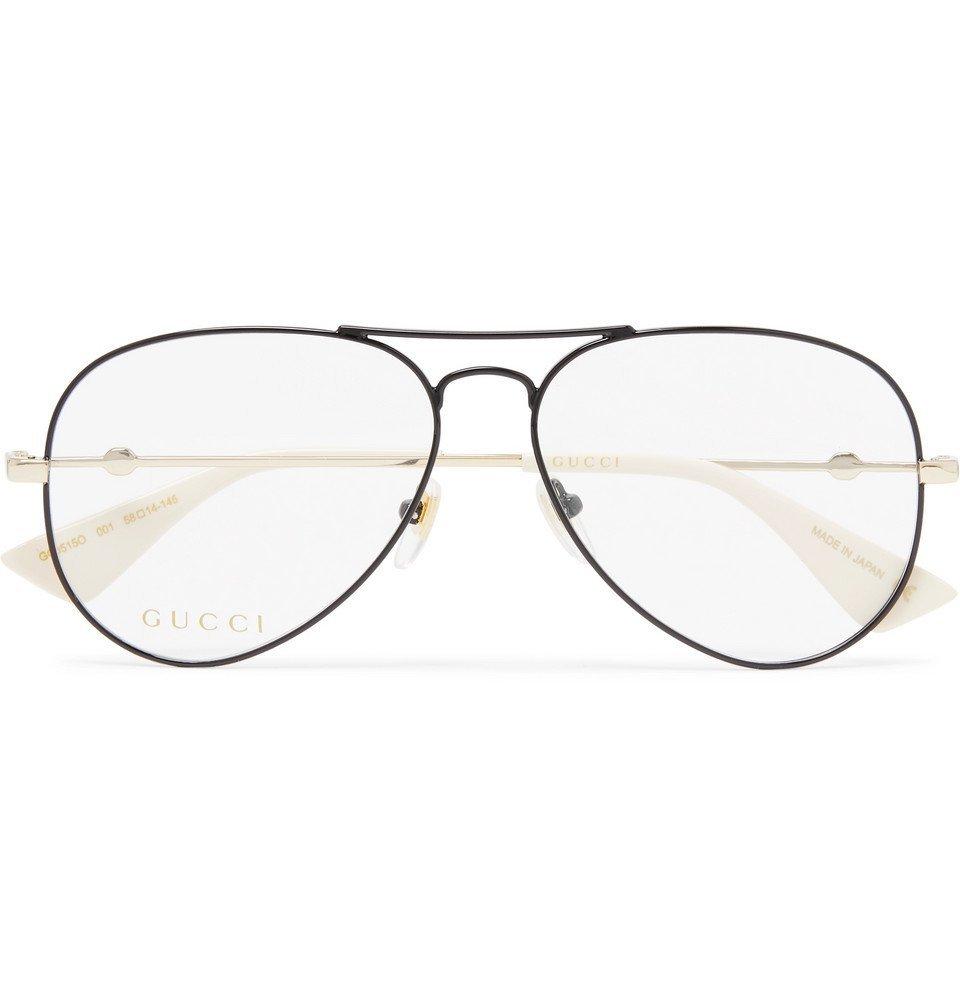 Photo: Gucci - Aviator-Style Black and Gold-Tone Optical Glasses - Black